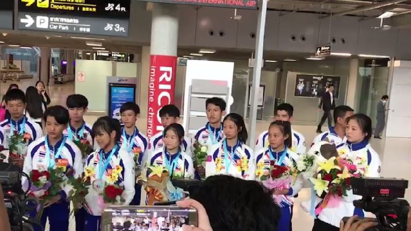 ทัพนักกีฬาเทควันโดพูมเซ่กลับไทยแล้ว