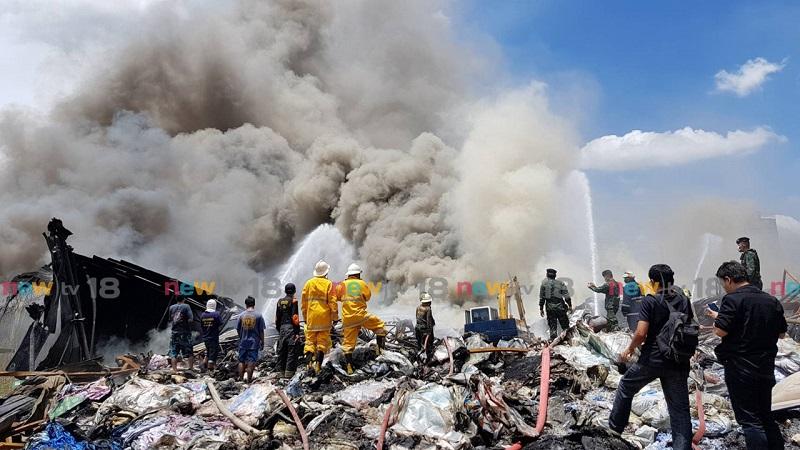 ไฟไหม้มาราธอนโรงงานเสื่อน้ำมัน 18 ชม. วอด 200 ล้าน